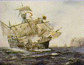 Juan Sebastiano el Cano et son �quipage sur la Victoria passent le cap St-Vincent