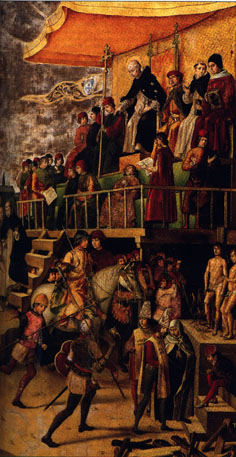 Autodafé présidé par Saint Dominique (P. Berruguete, fin XVe s.)